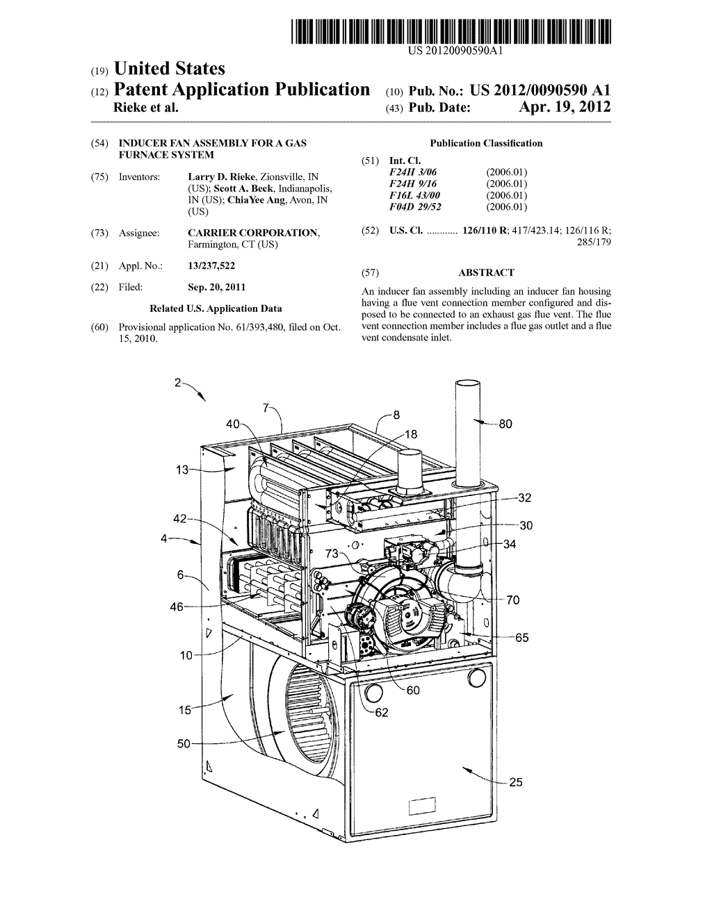 Inducer Fan Assembly For A Gas Furnace System Diagram Schematic