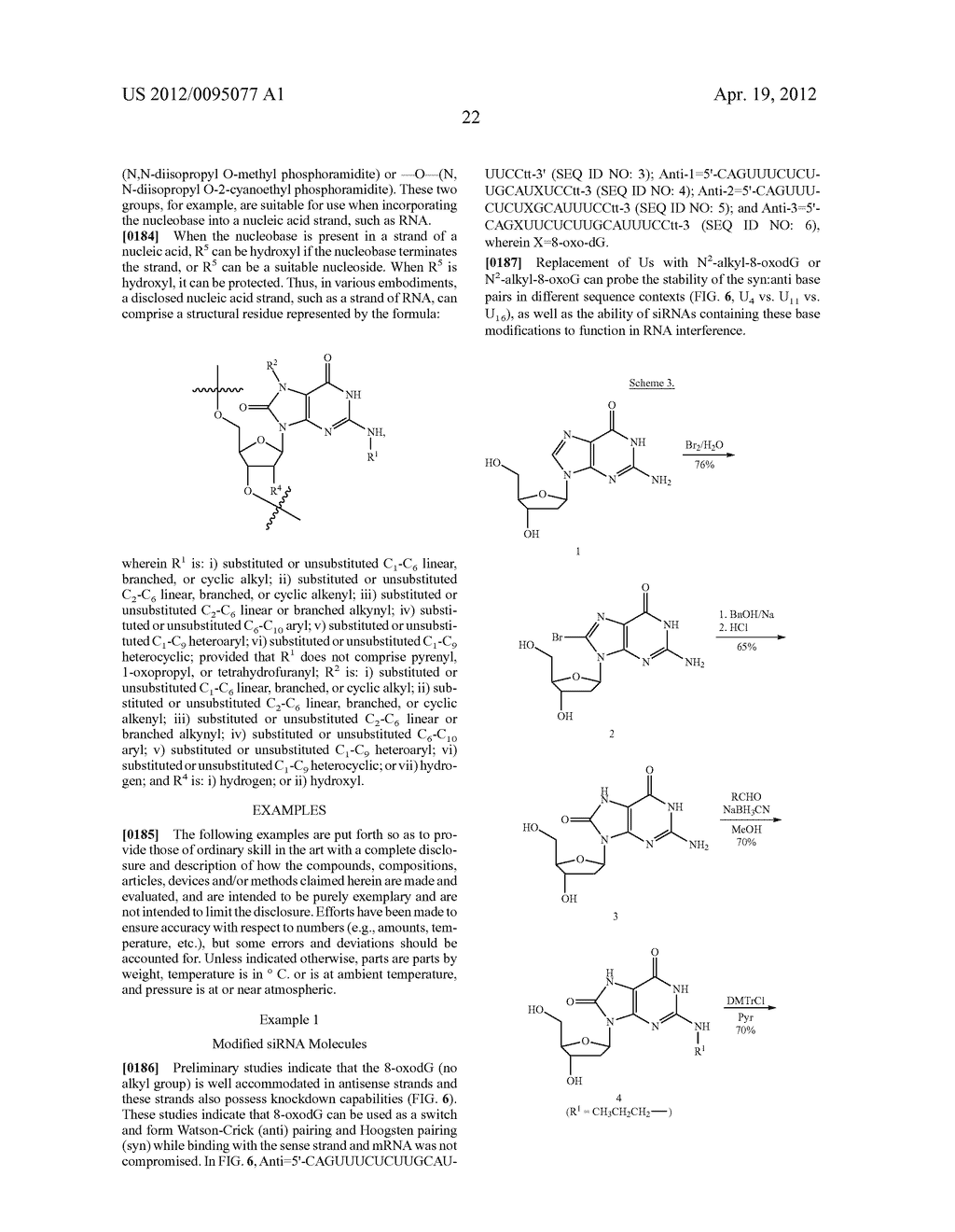 METHODS AND COMPOSITIONS RELATED TO MODIFIED GUANINE BASES FOR CONTROLLING     OFF-TARGET EFFECTS IN RNA INTERFERENCE - diagram, schematic, and image 42
