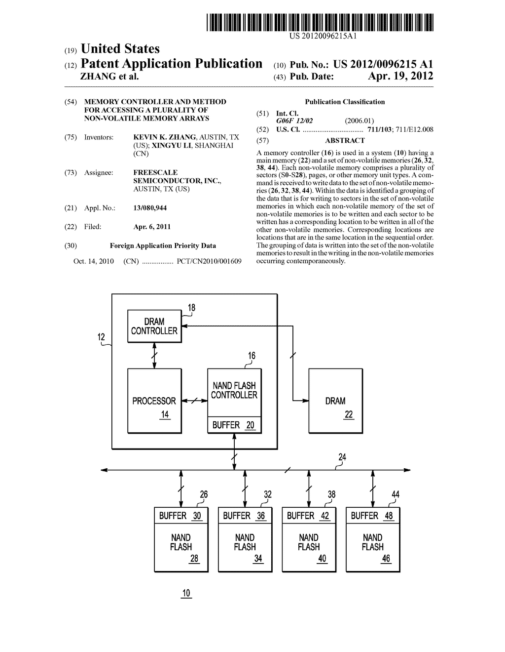MEMORY CONTROLLER AND METHOD FOR ACCESSING A PLURALITY OF NON-VOLATILE     MEMORY ARRAYS - diagram, schematic, and image 01