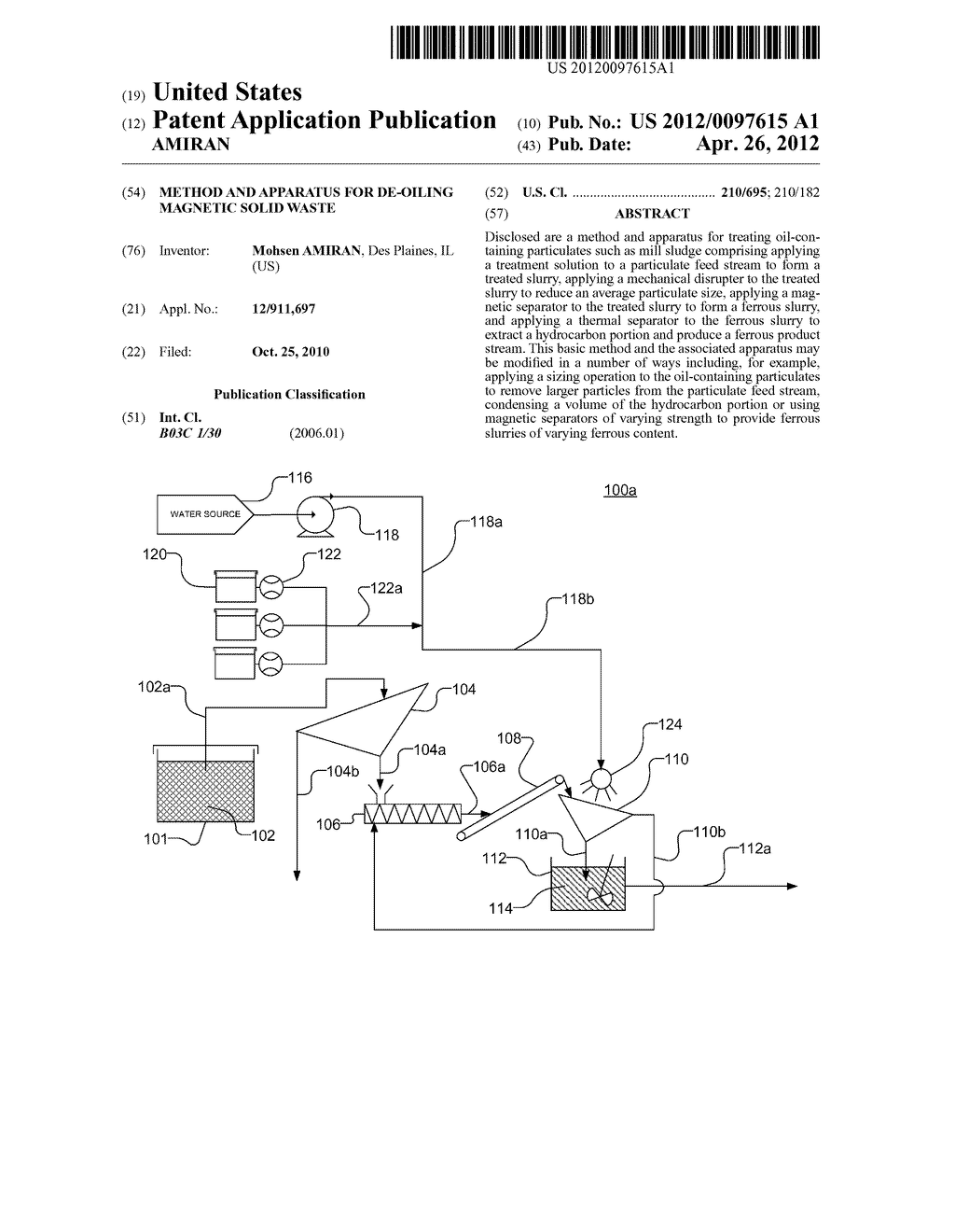 Method and Apparatus for De-Oiling Magnetic Solid Waste - diagram, schematic, and image 01