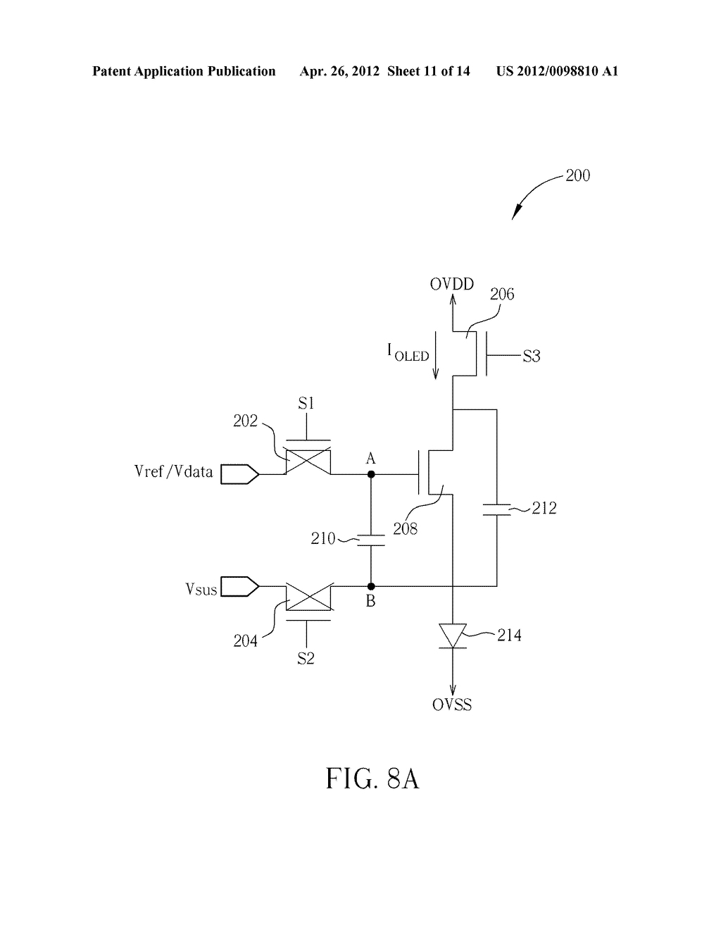 DRIVING CIRCUIT FOR PIXELS OF AN ACTIVE MATRIX ORGANIC LIGHT-EMITTING     DIODE DISPLAY AND METHOD FOR DRIVING PIXELS OF AN ACTIVE MATRIX ORGANIC     LIGHT-EMITTING DIODE DISPLAY - diagram, schematic, and image 12