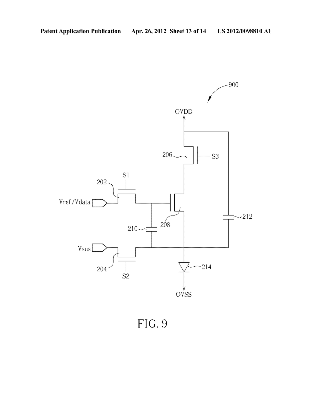 DRIVING CIRCUIT FOR PIXELS OF AN ACTIVE MATRIX ORGANIC LIGHT-EMITTING     DIODE DISPLAY AND METHOD FOR DRIVING PIXELS OF AN ACTIVE MATRIX ORGANIC     LIGHT-EMITTING DIODE DISPLAY - diagram, schematic, and image 14