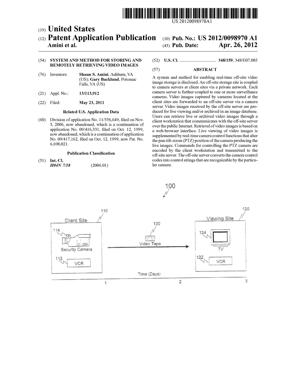 SYSTEM AND METHOD FOR STORING AND REMOTELY RETRIEVING VIDEO IMAGES - diagram, schematic, and image 01