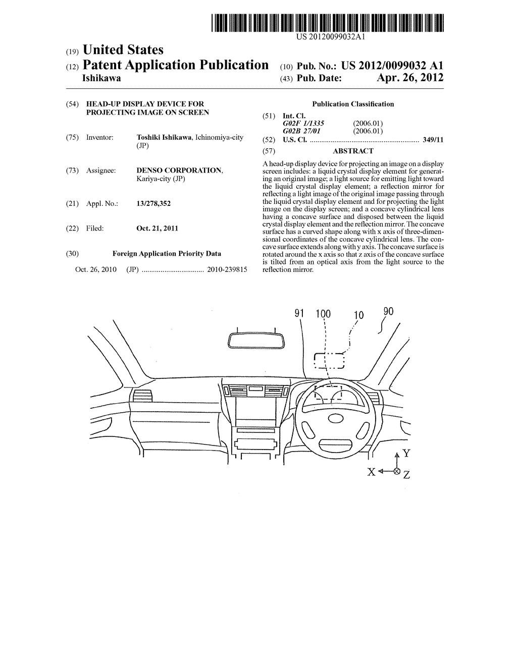 HEAD-UP DISPLAY DEVICE FOR PROJECTING IMAGE ON SCREEN - diagram, schematic, and image 01