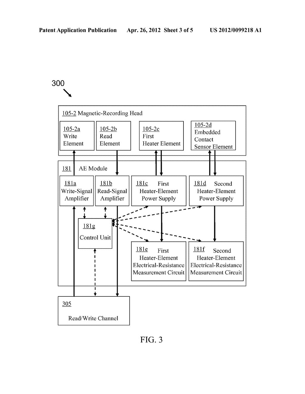 MAGNETIC-RECORDING HEAD WITH FIRST THERMAL FLY-HEIGHT CONTROL ELEMENT AND     EMBEDDED CONTACT SENSOR ELEMENT CONFIGURABLE AS SECOND THERMAL FLY-HEIGHT     CONTROL ELEMENT - diagram, schematic, and image 04