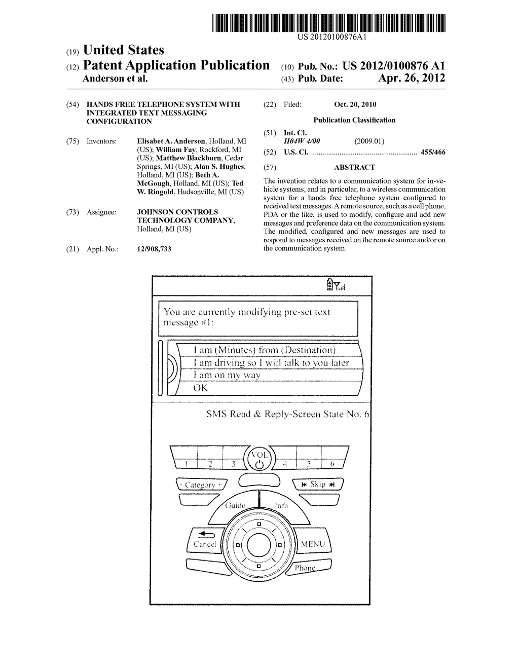 HANDS FREE TELEPHONE SYSTEM WITH INTEGRATED TEXT MESSAGING CONFIGURATION - diagram, schematic, and image 01