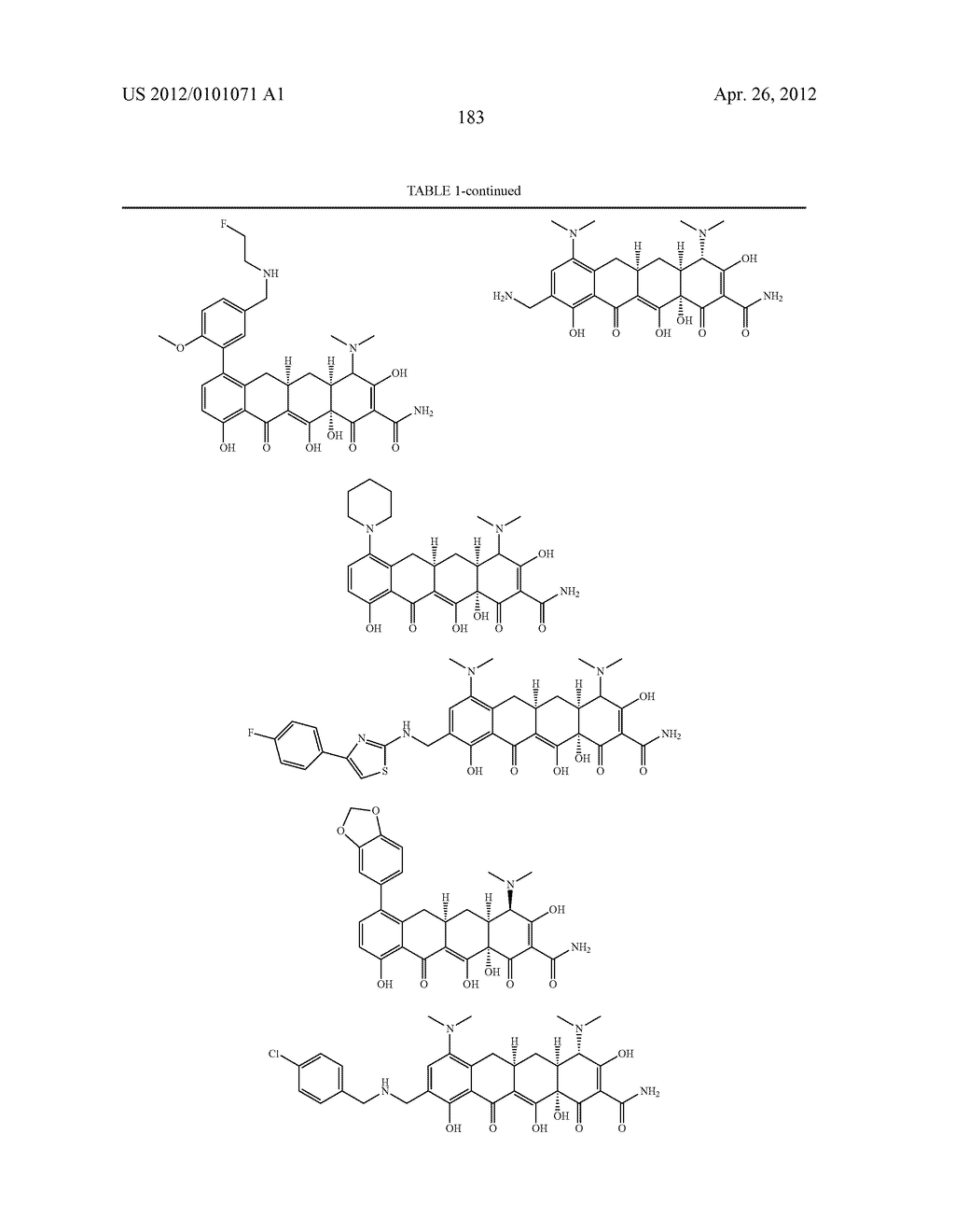 SubstitutedTetracycline Compounds for the Treatment of Malaria - diagram, schematic, and image 184