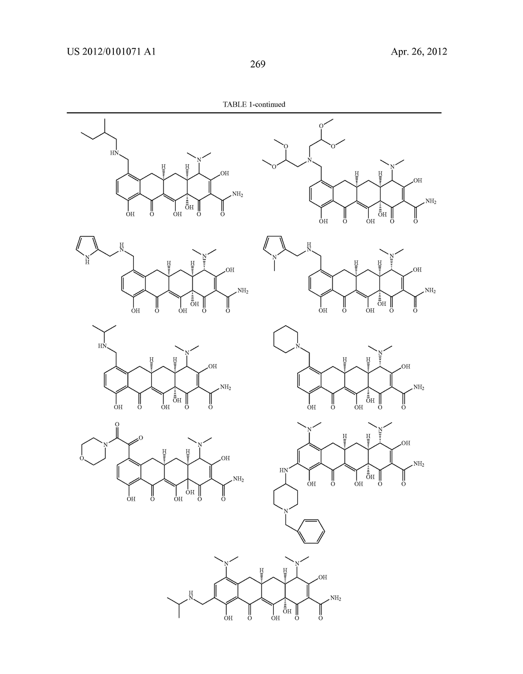 SubstitutedTetracycline Compounds for the Treatment of Malaria - diagram, schematic, and image 270
