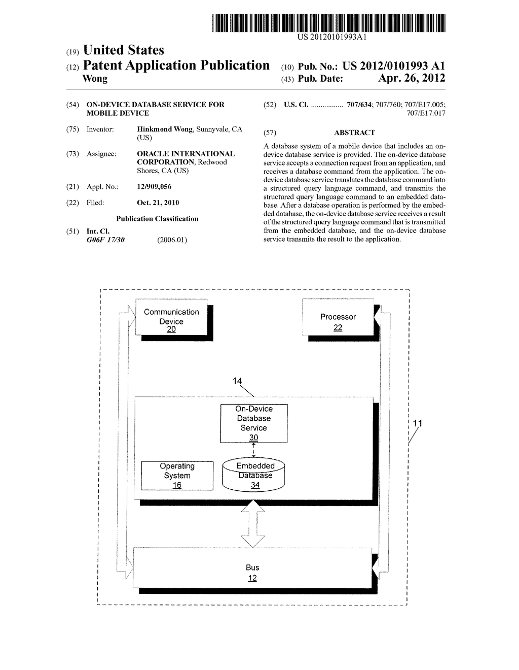 ON-DEVICE DATABASE SERVICE FOR MOBILE DEVICE - diagram, schematic, and image 01