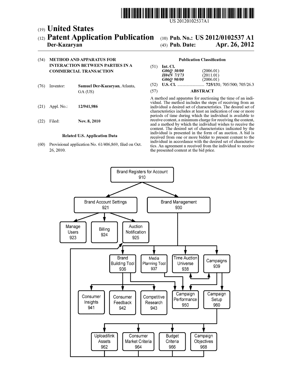 Method and Apparatus for Interaction Between Parties in a Commercial     Transaction - diagram, schematic, and image 01