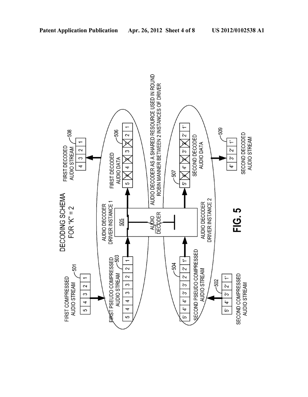 METHODS AND APPARATUS FOR DECODING MULTIPLE INDEPENDENT AUDIO STREAMS     USING A SINGLE AUDIO DECODER - diagram, schematic, and image 05