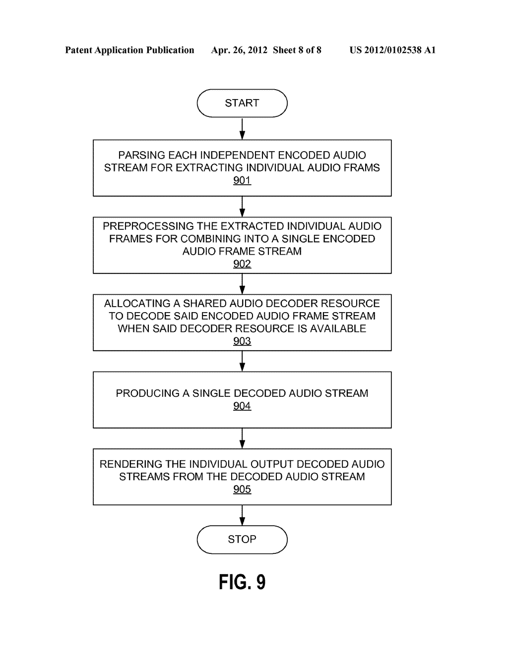 METHODS AND APPARATUS FOR DECODING MULTIPLE INDEPENDENT AUDIO STREAMS     USING A SINGLE AUDIO DECODER - diagram, schematic, and image 09