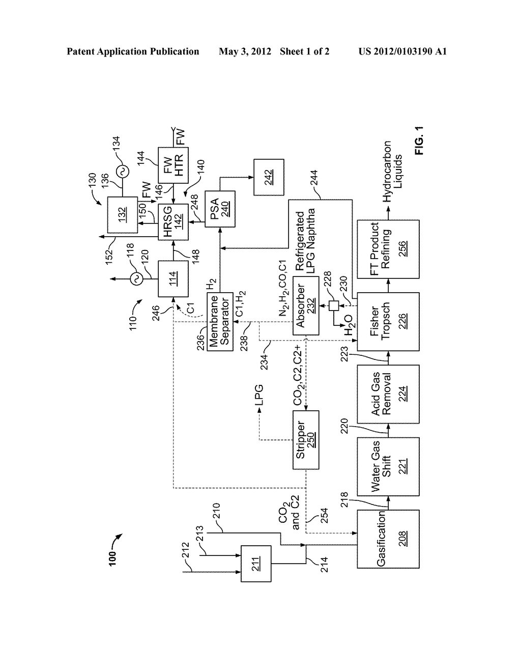 METHOD AND SYSTEM FOR TREATING FISHCHER-TROPSCH REACTOR TAIL GAS - diagram, schematic, and image 02