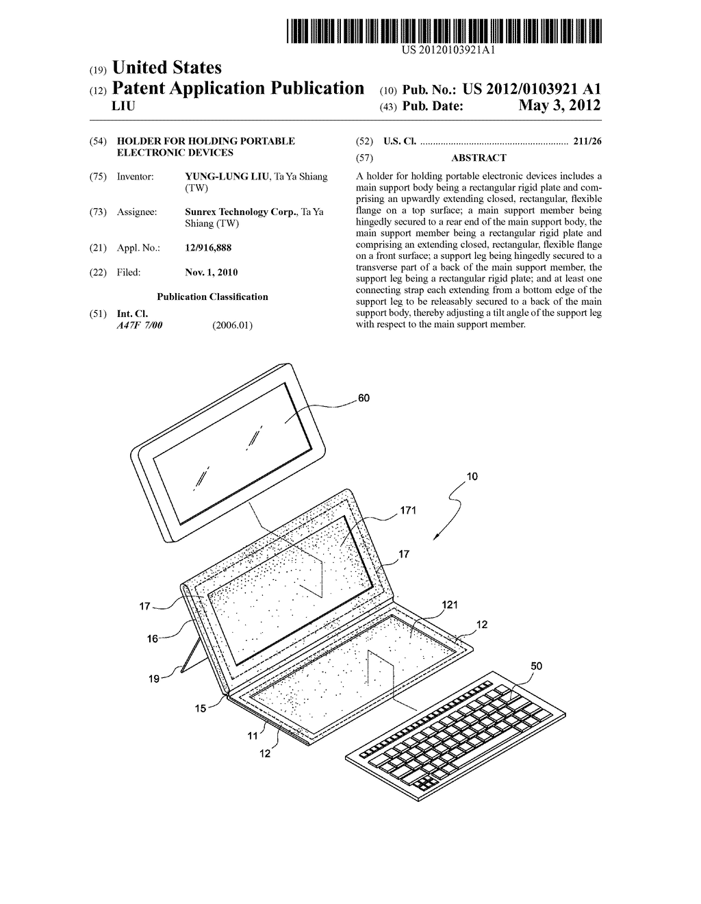 HOLDER FOR HOLDING PORTABLE ELECTRONIC DEVICES - diagram, schematic, and image 01