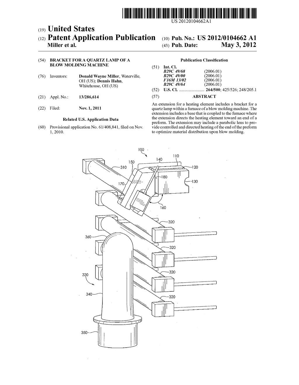 BRACKET FOR A QUARTZ LAMP OF A BLOW MOLDING MACHINE - diagram, schematic, and image 01