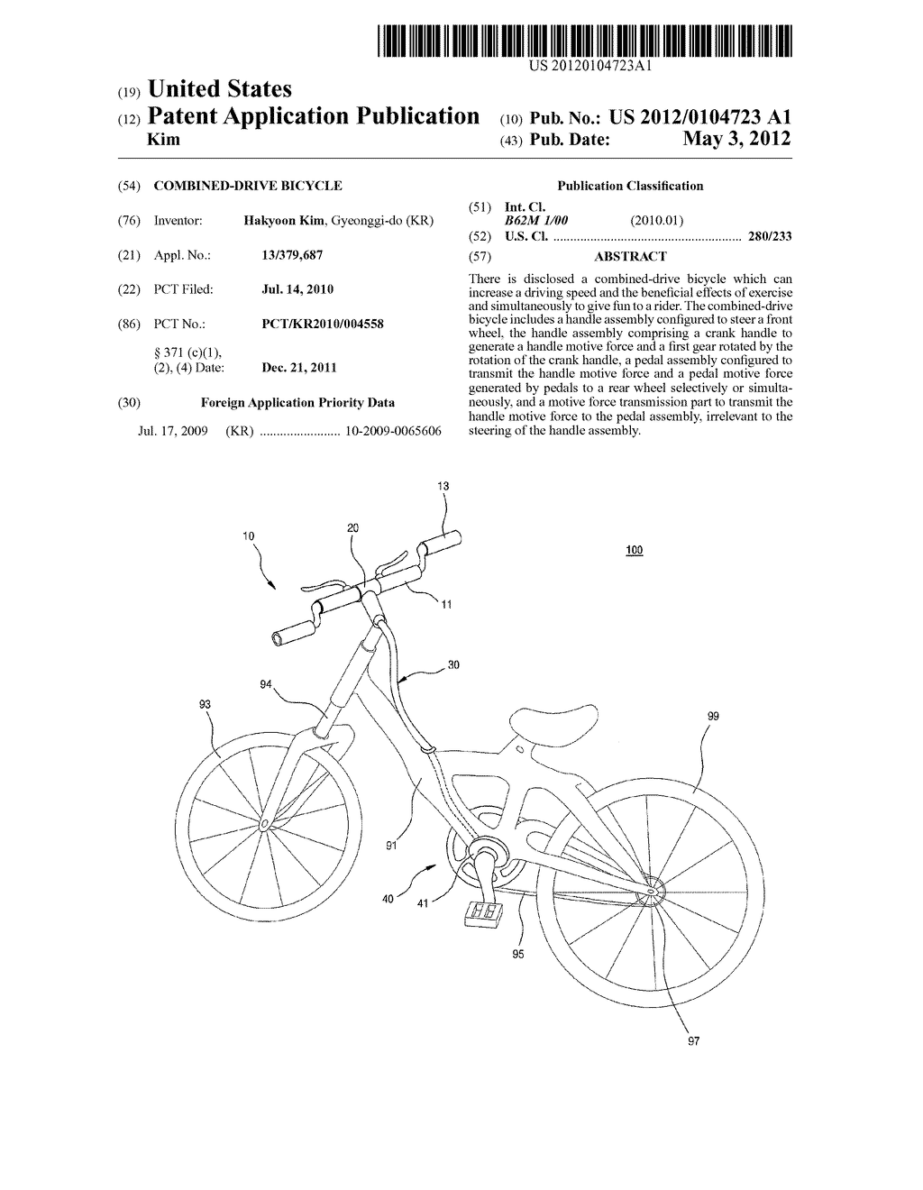 COMBINED-DRIVE BICYCLE - diagram, schematic, and image 01
