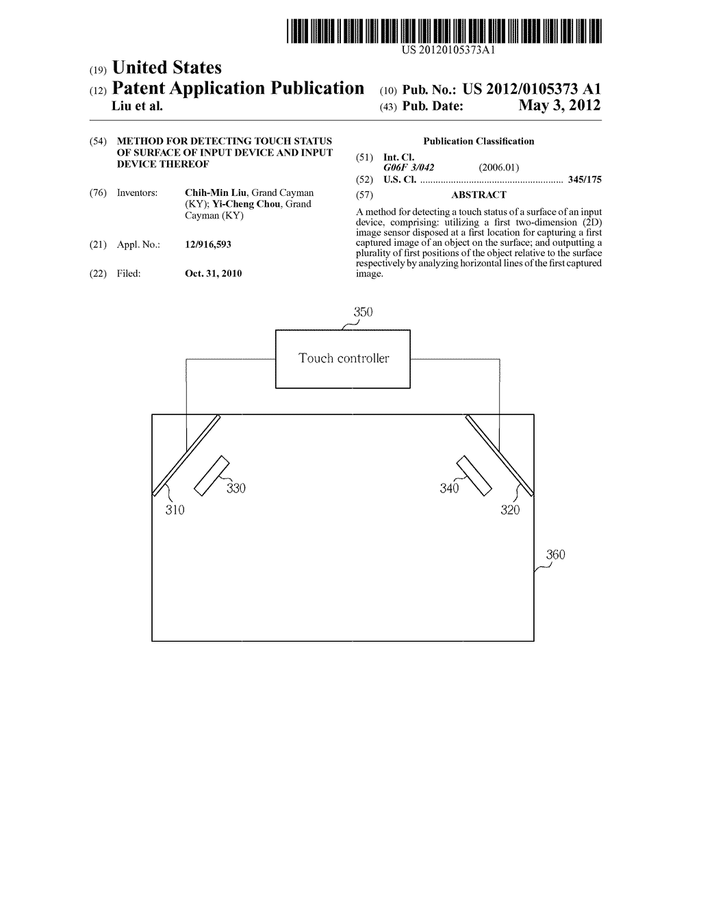 METHOD FOR DETECTING TOUCH STATUS OF SURFACE OF INPUT DEVICE AND INPUT     DEVICE THEREOF - diagram, schematic, and image 01
