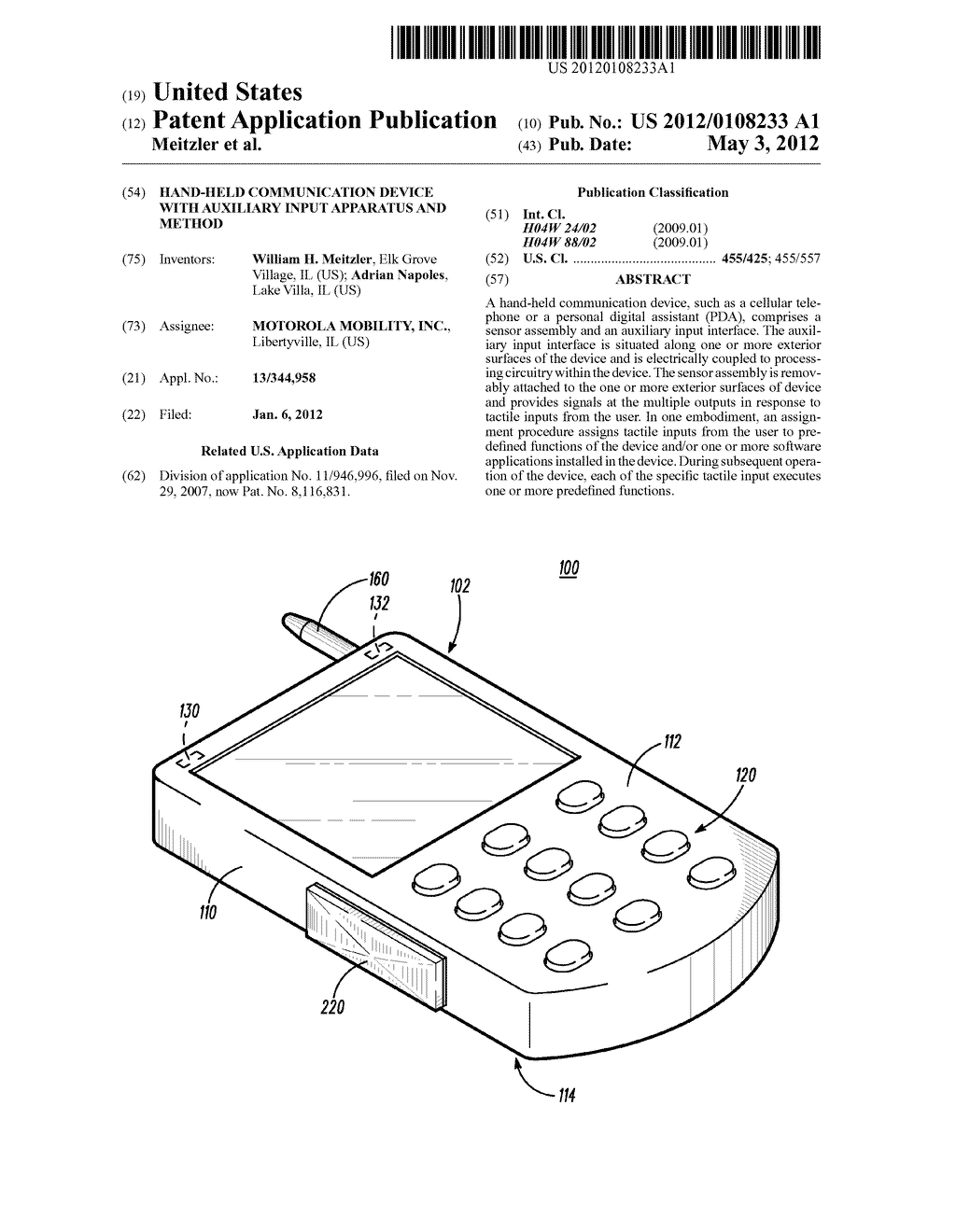 Hand-Held Communication Device with Auxiliary Input Apparatus and Method - diagram, schematic, and image 01