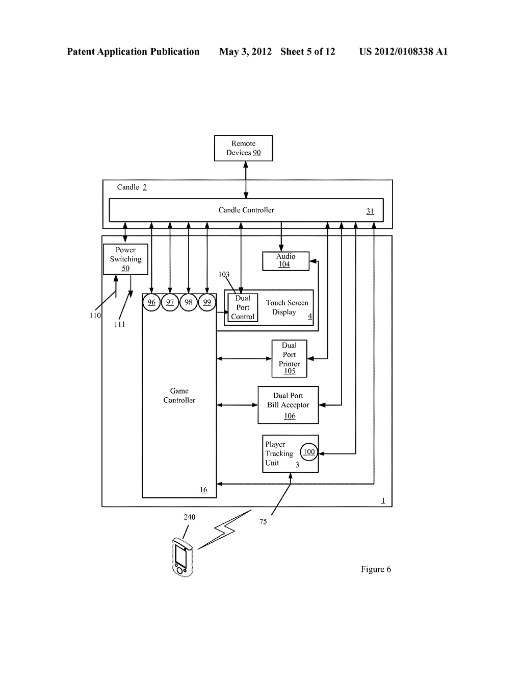 CANDLE DEVICE FOR GENERATING DISPLAY INTERFACES ON THE MAIN DISPLAY OF A     GAMING MACHINE - diagram, schematic, and image 06