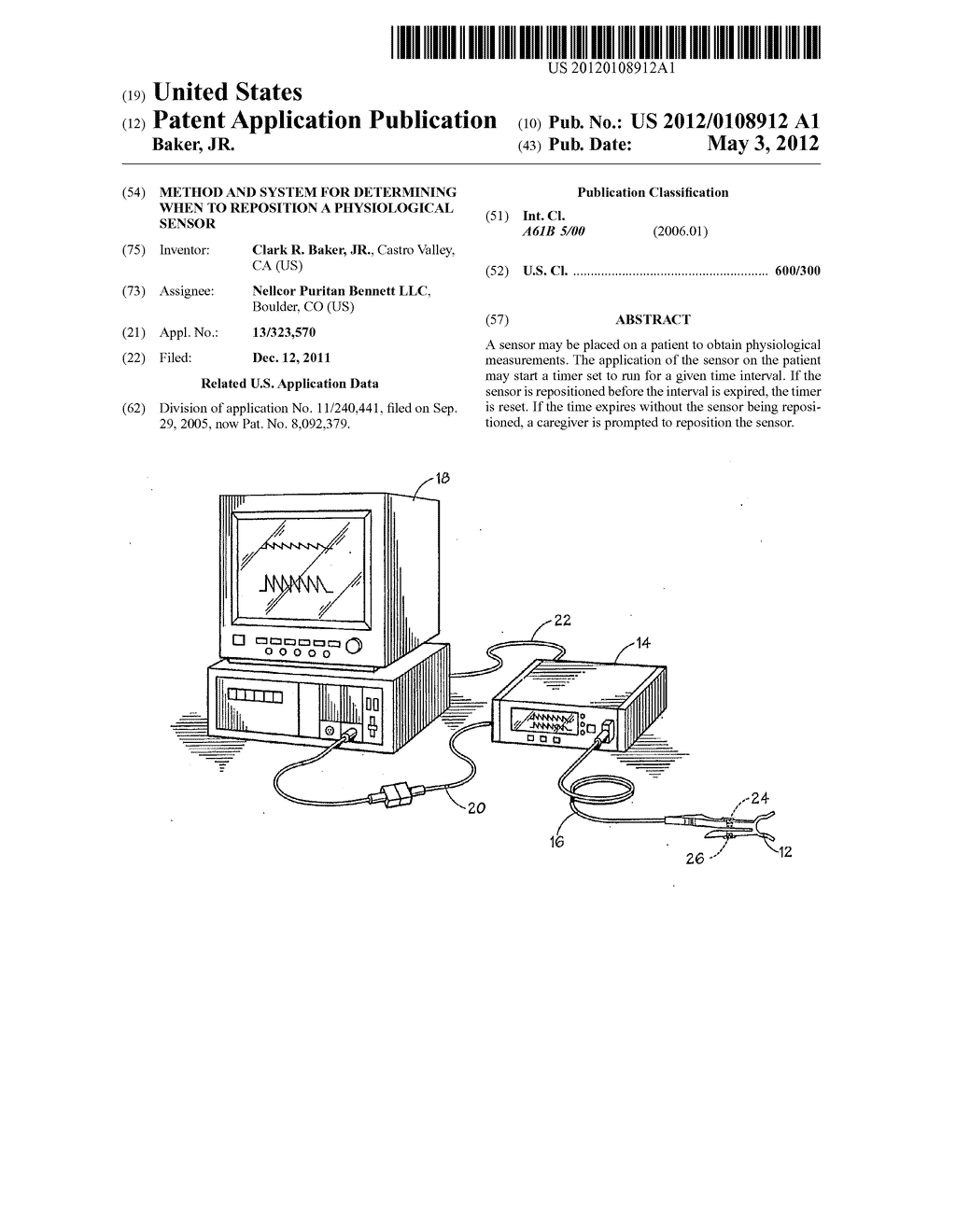 METHOD AND SYSTEM FOR DETERMINING WHEN TO REPOSITION A PHYSIOLOGICAL     SENSOR - diagram, schematic, and image 01