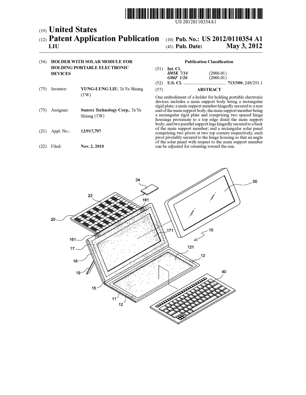 HOLDER WITH SOLAR MODULE FOR HOLDING PORTABLE ELECTRONIC DEVICES - diagram, schematic, and image 01