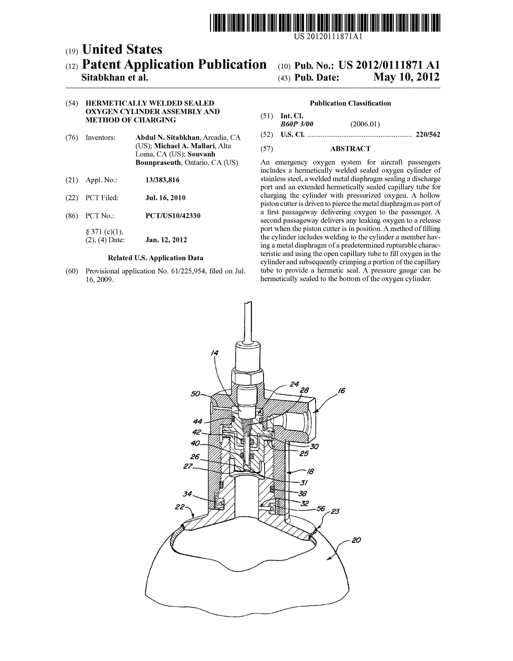 HERMETICALLY WELDED SEALED OXYGEN CYLINDER ASSEMBLY AND METHOD OF CHARGING - diagram, schematic, and image 01