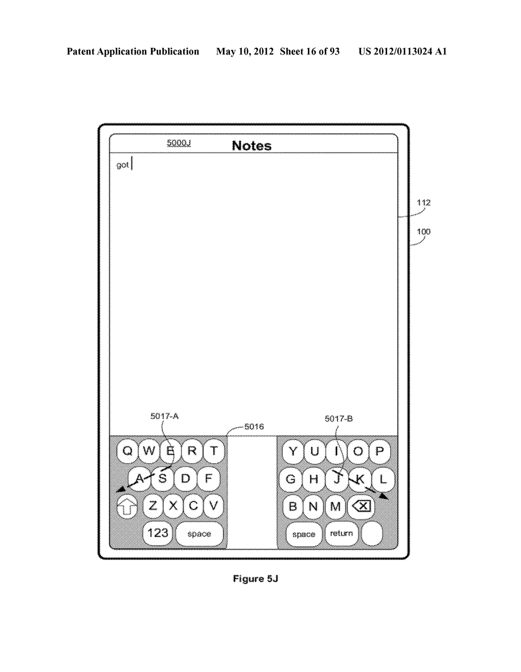 Device, Method, and Graphical User Interface for Manipulating Soft     Keyboards - diagram, schematic, and image 17