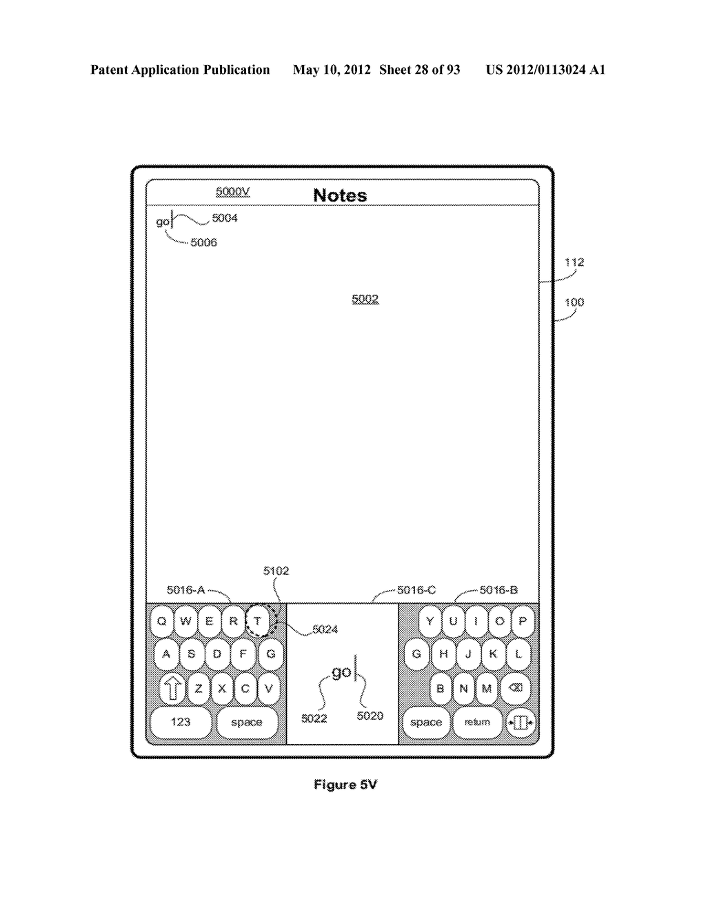 Device, Method, and Graphical User Interface for Manipulating Soft     Keyboards - diagram, schematic, and image 29
