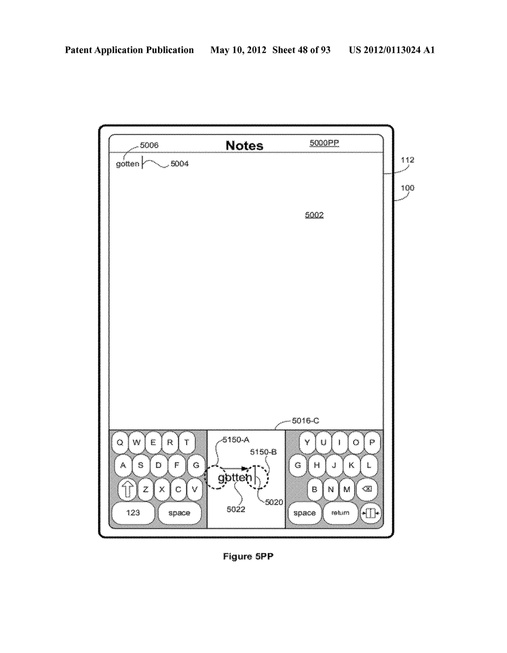 Device, Method, and Graphical User Interface for Manipulating Soft     Keyboards - diagram, schematic, and image 49