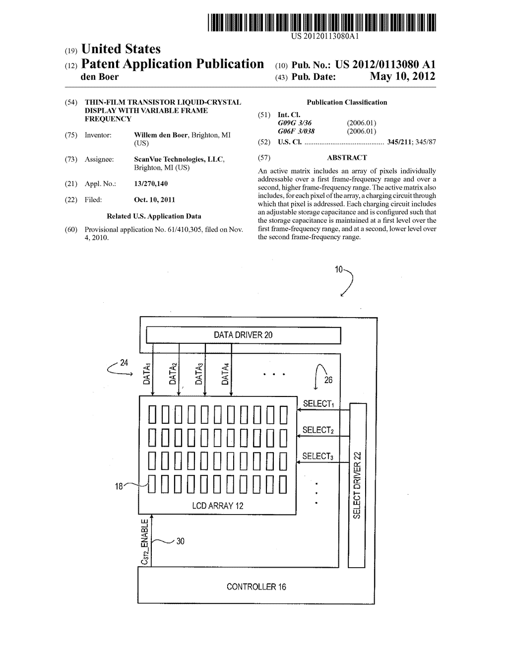 Thin-Film Transistor Liquid-Crystal Display with Variable Frame Frequency - diagram, schematic, and image 01