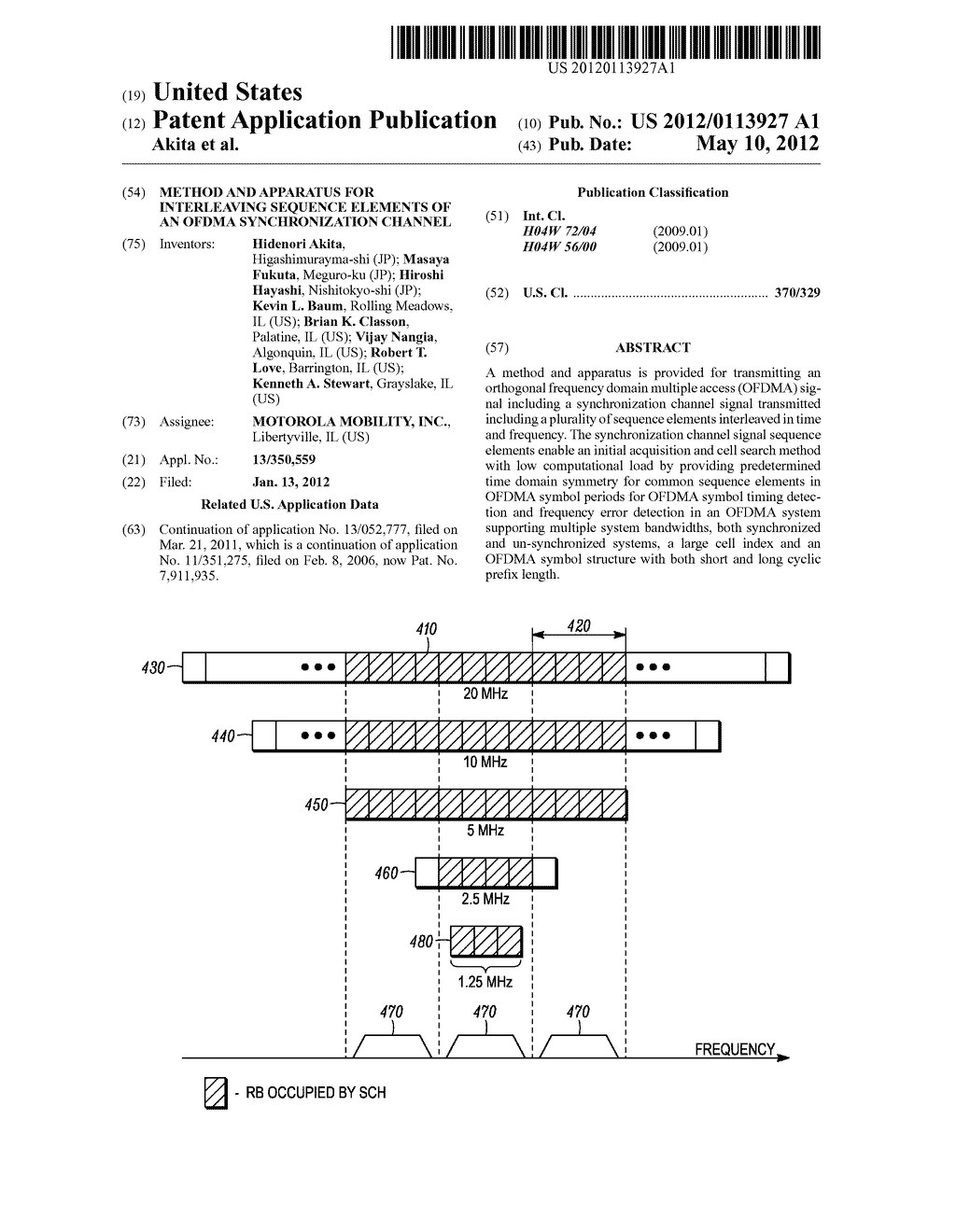 METHOD AND APPARATUS FOR INTERLEAVING SEQUENCE ELEMENTS OF AN OFDMA     SYNCHRONIZATION CHANNEL - diagram, schematic, and image 01