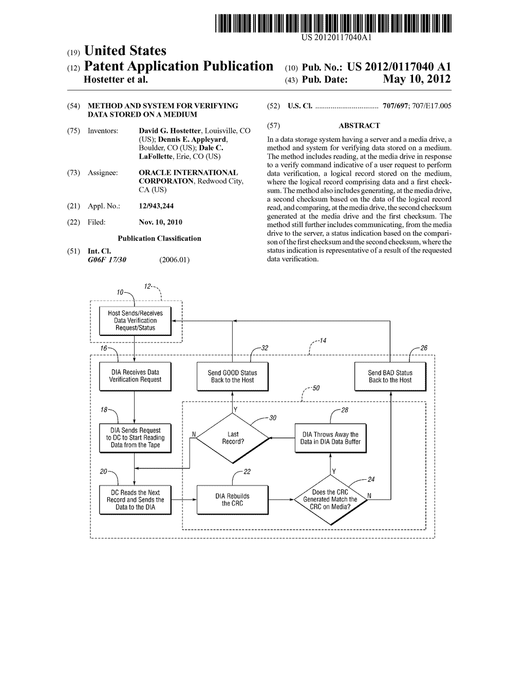 Method and System for Verifying Data Stored on a Medium - diagram, schematic, and image 01