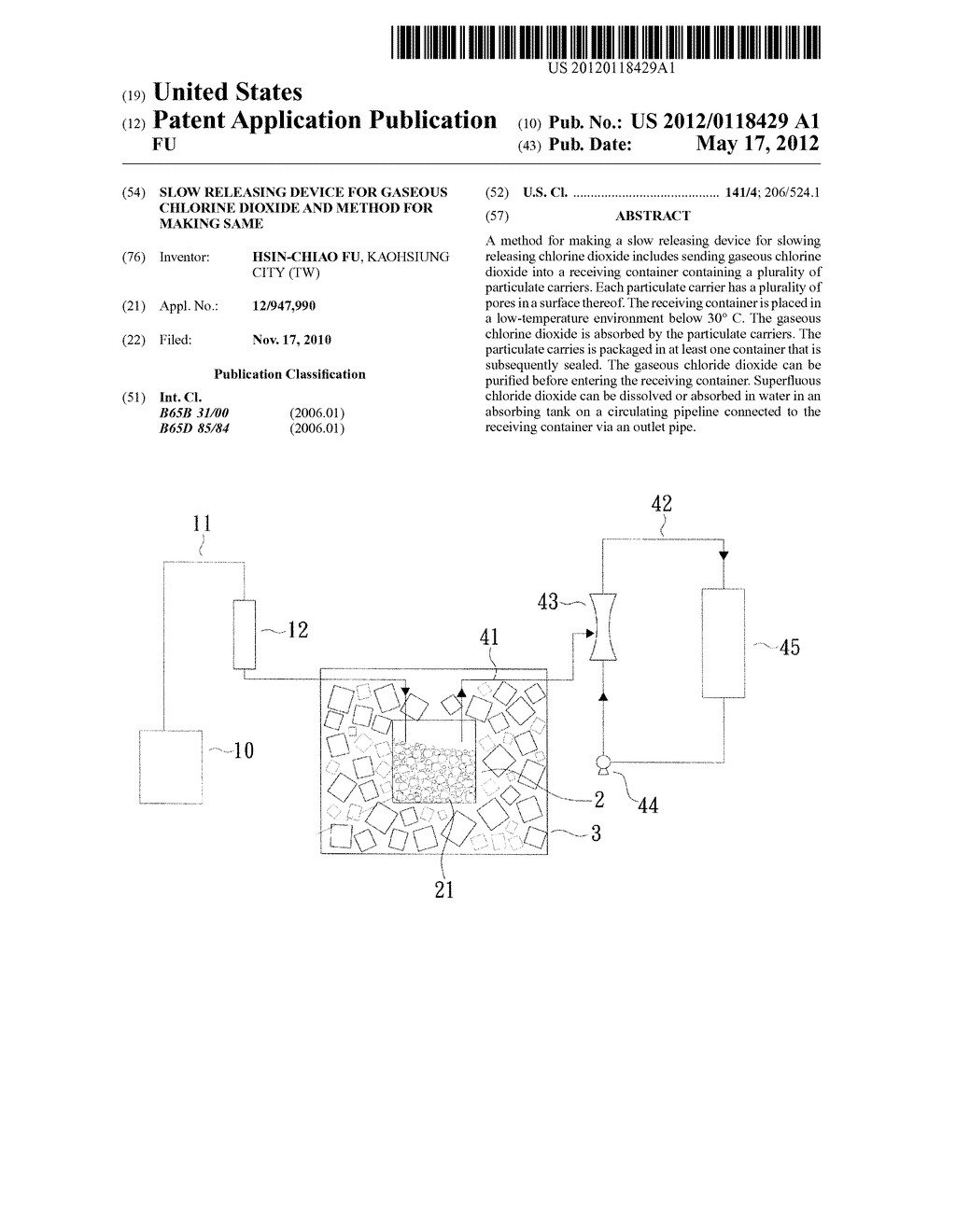 SLOW RELEASING DEVICE FOR GASEOUS CHLORINE DIOXIDE AND METHOD FOR MAKING     SAME - diagram, schematic, and image 01
