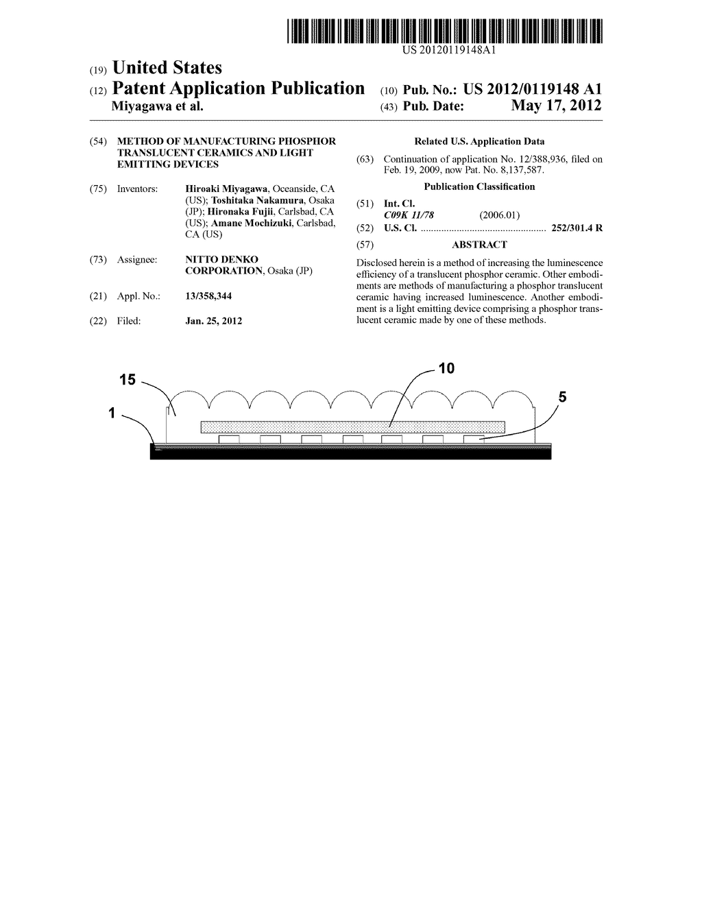 METHOD OF MANUFACTURING PHOSPHOR TRANSLUCENT CERAMICS AND LIGHT EMITTING     DEVICES - diagram, schematic, and image 01