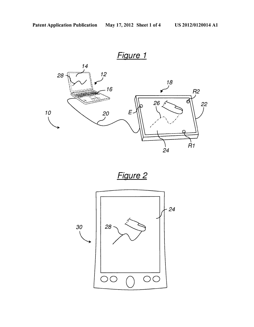 METHOD AND DEVICE FOR LOCATING AT LEAST ONE TOUCH ON A TOUCH-SENSITIVE     SURFACE OF AN OBJECT - diagram, schematic, and image 02