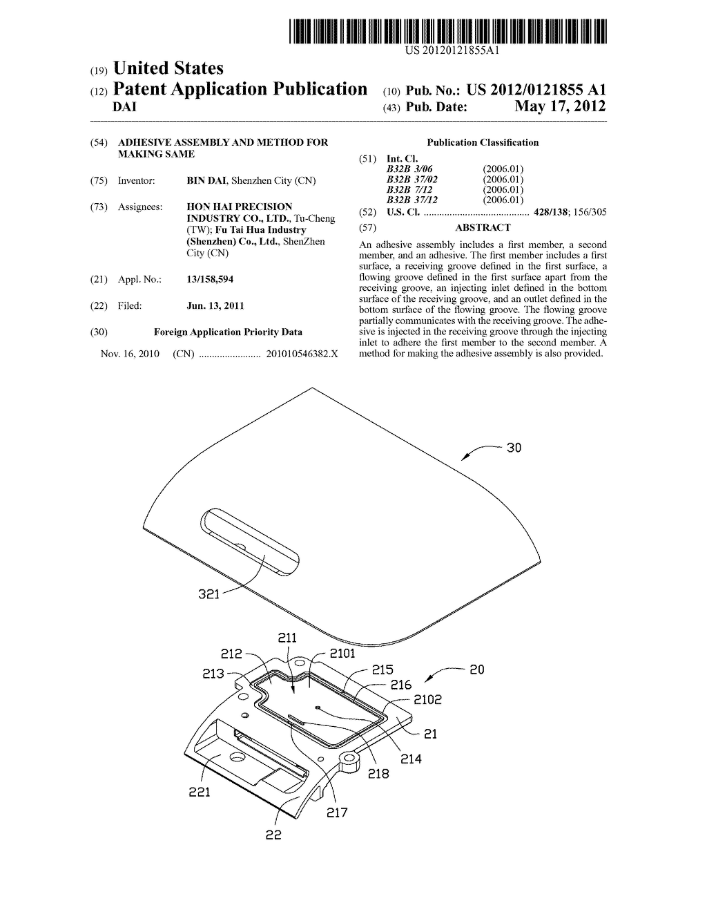 ADHESIVE ASSEMBLY AND METHOD FOR MAKING SAME - diagram, schematic, and image 01