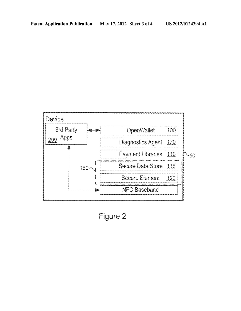 System and Method for Providing a Virtual Secure Element on a Portable     Communication Device - diagram, schematic, and image 04