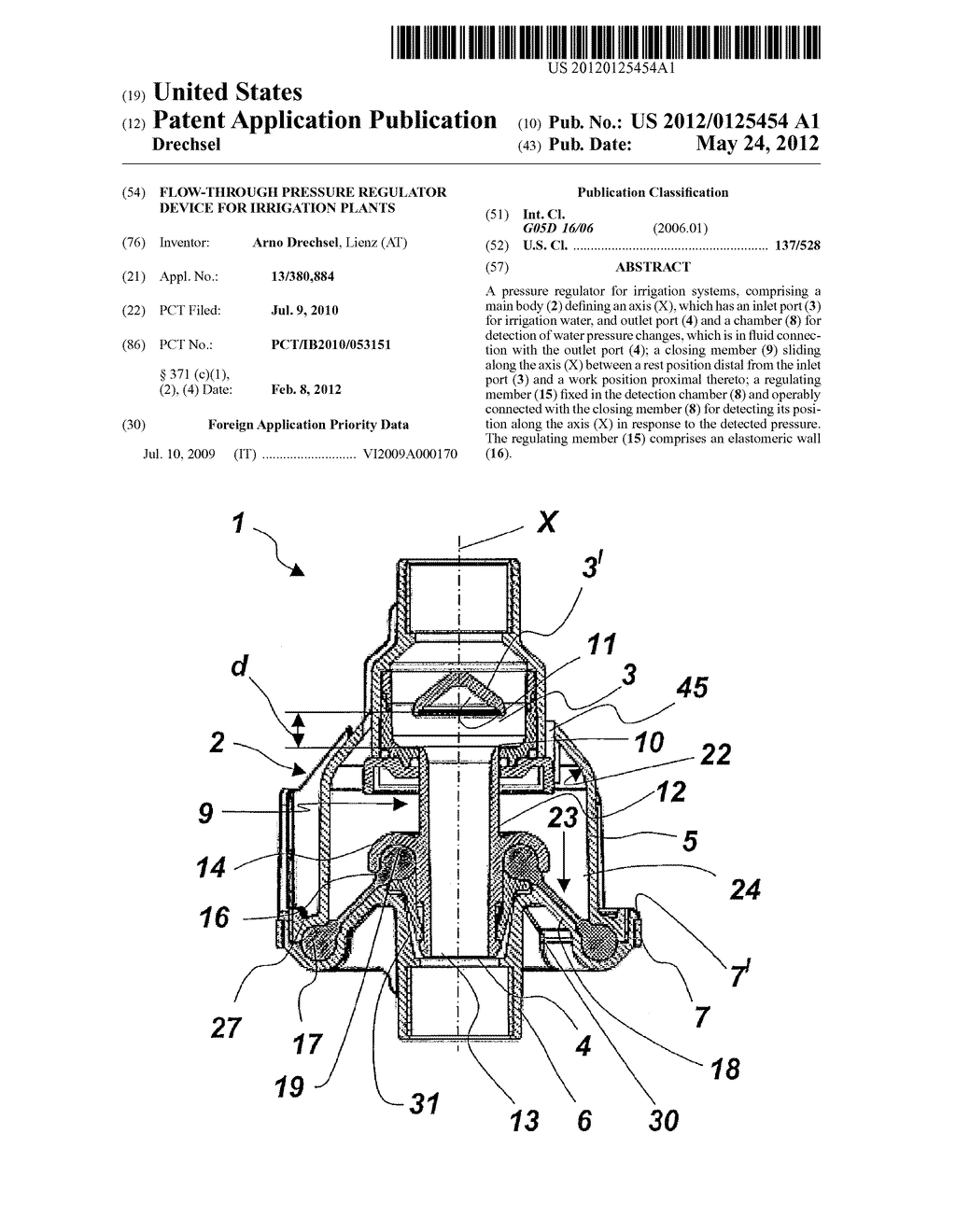 Flow-through pressure regulator device for irrigation plants - diagram, schematic, and image 01