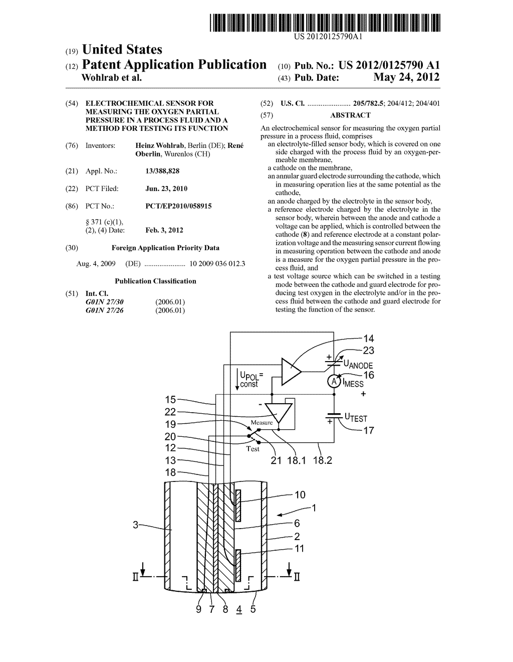 ELECTROCHEMICAL SENSOR FOR MEASURING THE OXYGEN PARTIAL PRESSURE IN A     PROCESS FLUID AND A METHOD FOR TESTING ITS FUNCTION - diagram, schematic, and image 01