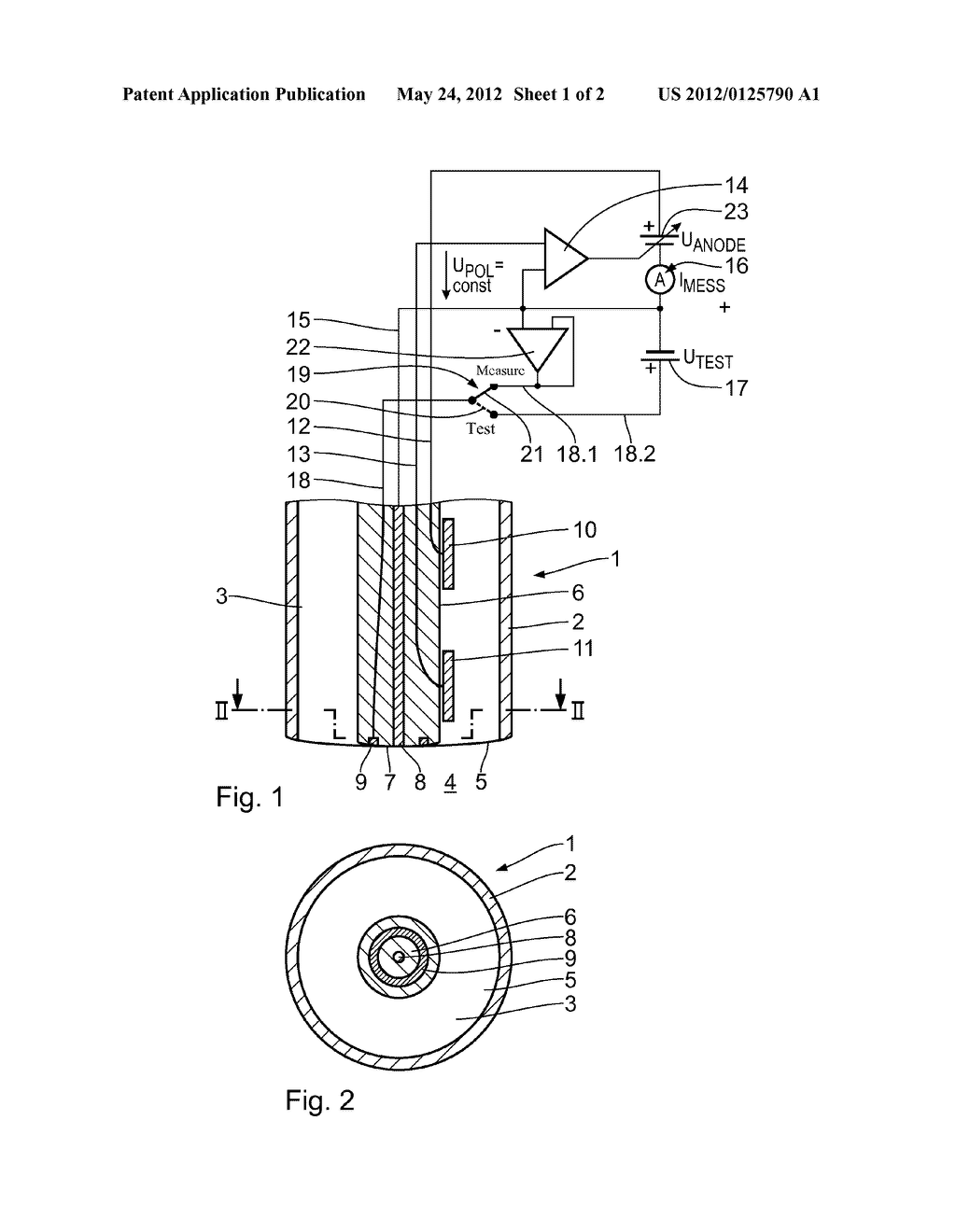 ELECTROCHEMICAL SENSOR FOR MEASURING THE OXYGEN PARTIAL PRESSURE IN A     PROCESS FLUID AND A METHOD FOR TESTING ITS FUNCTION - diagram, schematic, and image 02