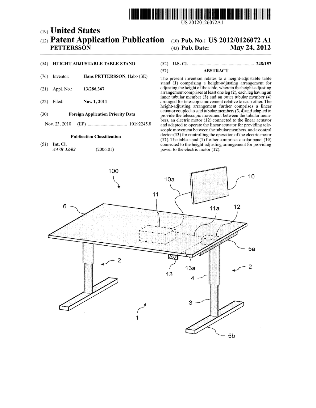 HEIGHT-ADJUSTABLE TABLE STAND - diagram, schematic, and image 01