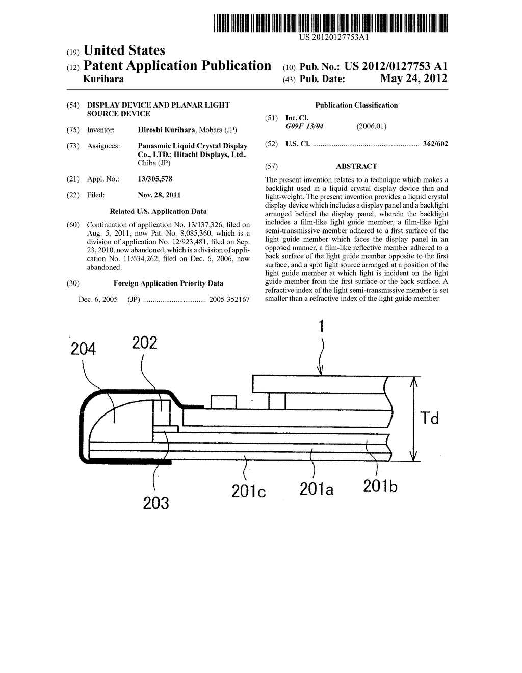Display Device and Planar Light Source Device - diagram, schematic, and image 01
