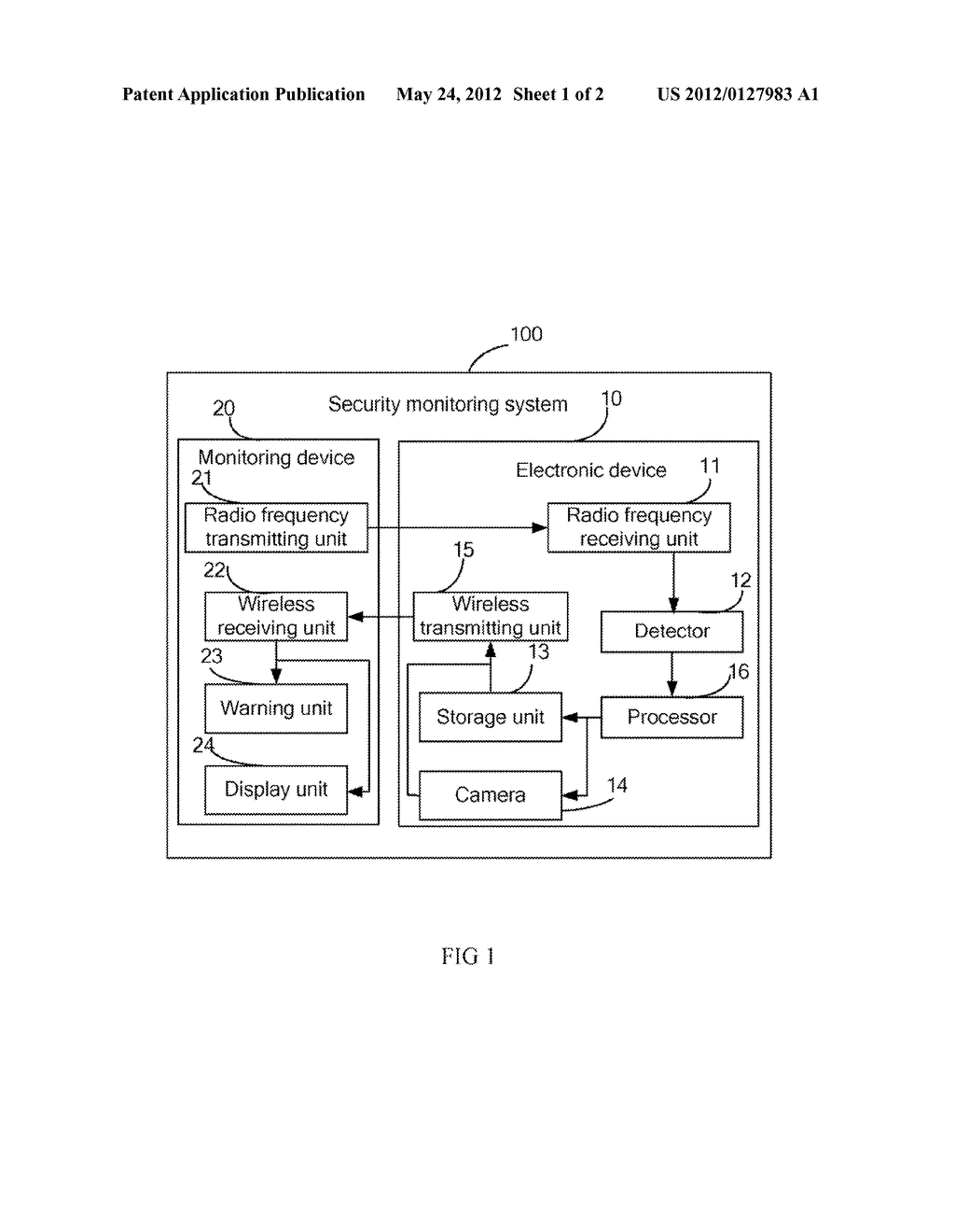 ELECTRONIC DEVICE AND METHOD FOR TRANSMITTING WARNING INFORMATION, AND     SECURITY MONITORING SYSTEM - diagram, schematic, and image 02