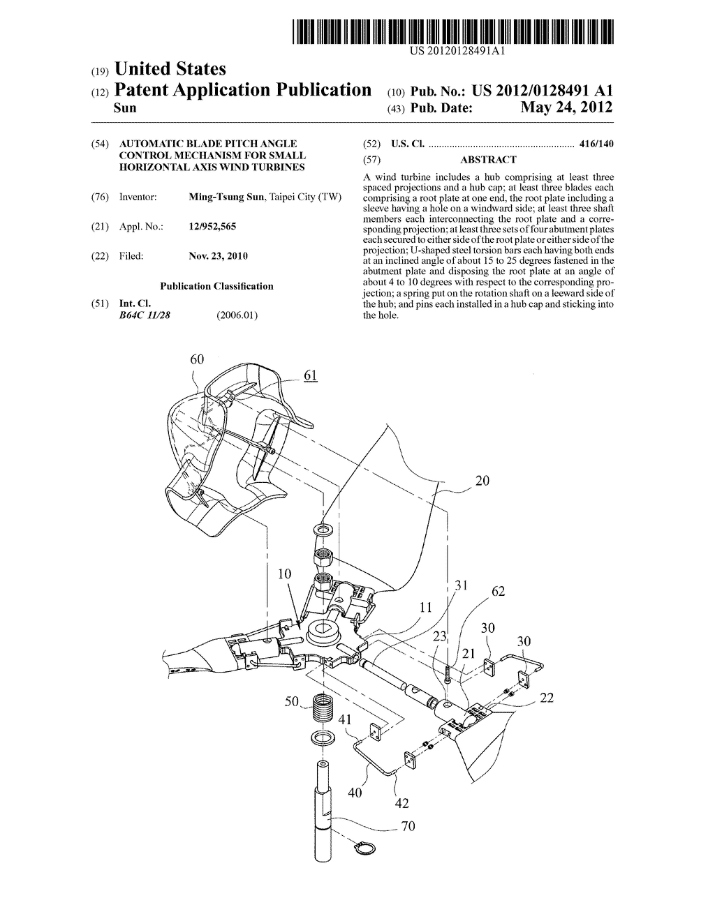 Automatic Blade Pitch Angle Control Mechanism For Small Horizontal Wind Power Turbine Diagram Axis Turbines Schematic And Image 01