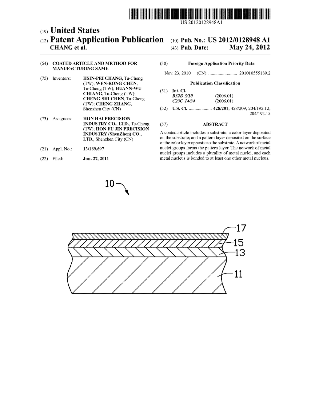 COATED ARTICLE AND METHOD FOR MANUFACTURING SAME - diagram, schematic, and image 01
