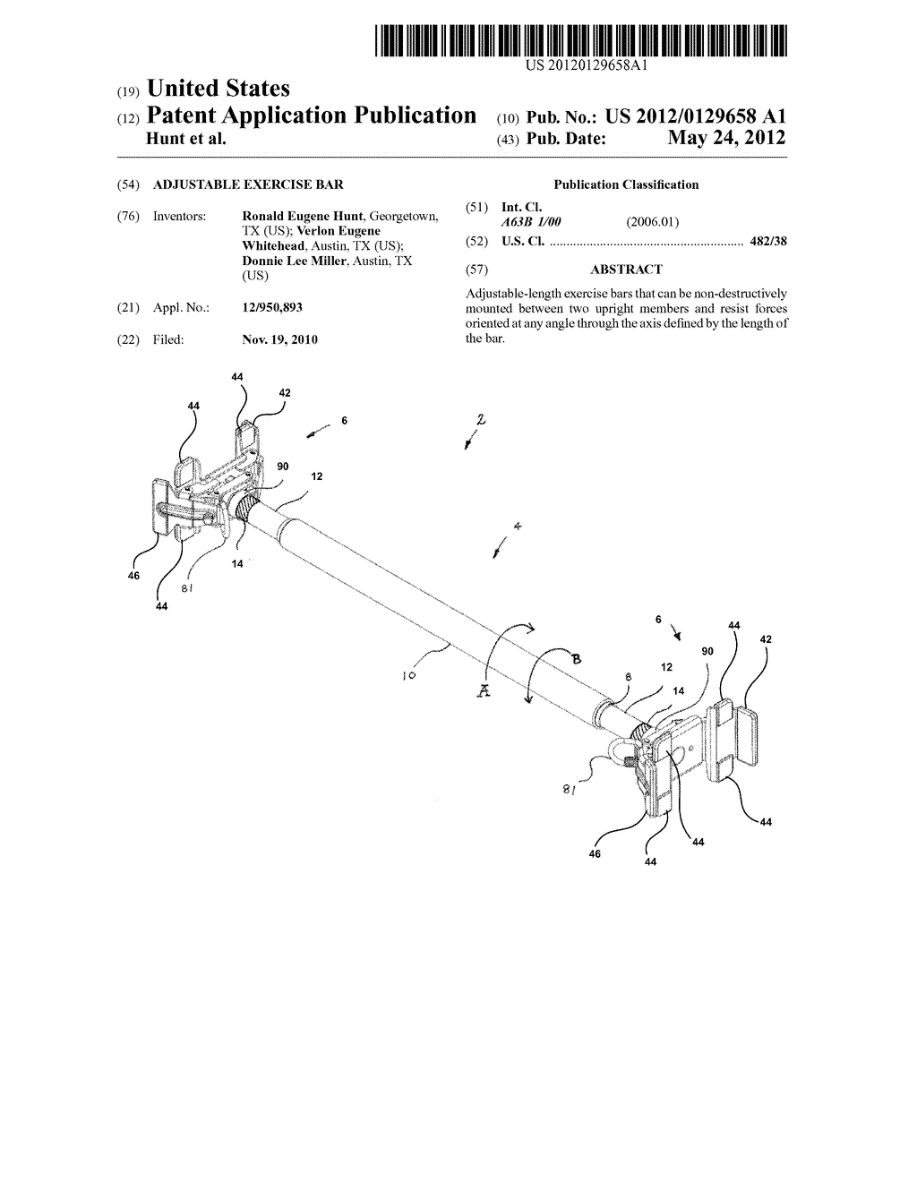 Adjustable Exercise Bar - diagram, schematic, and image 01