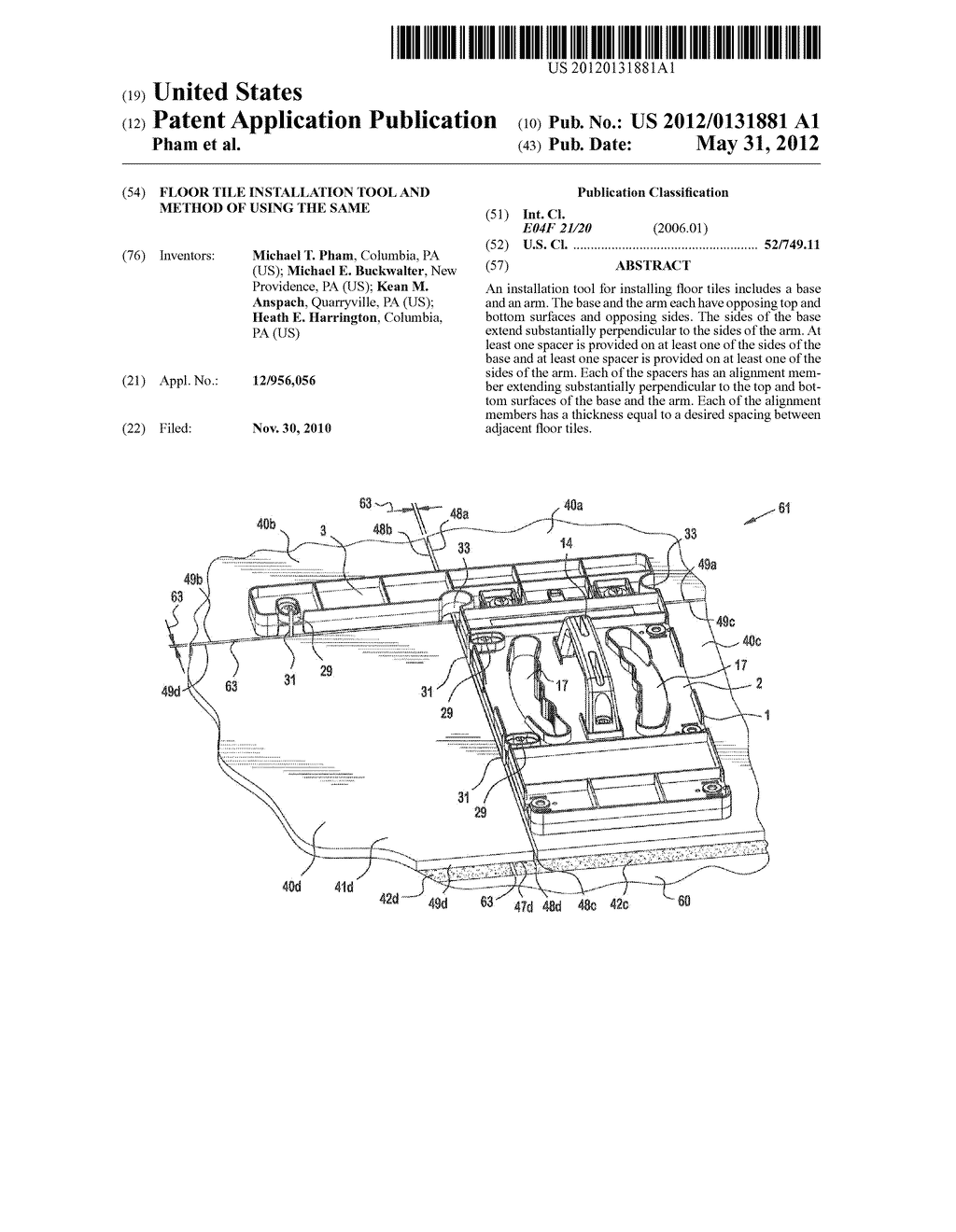 Floor tile installation tool and method of using the same - diagram, schematic, and image 01