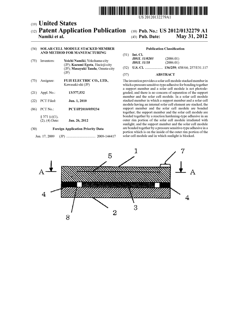 SOLAR CELL MODULE STACKED MEMBER AND METHOD FOR MANUFACTURING - diagram, schematic, and image 01