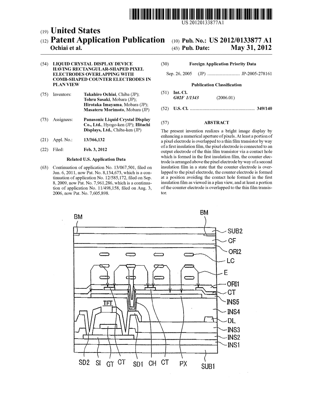 Liquid Crystal Display Device Having Rectangular-Shaped Pixel Electrodes     Overlapping with Comb-Shaped Counter Electrodes in Plan View - diagram, schematic, and image 01