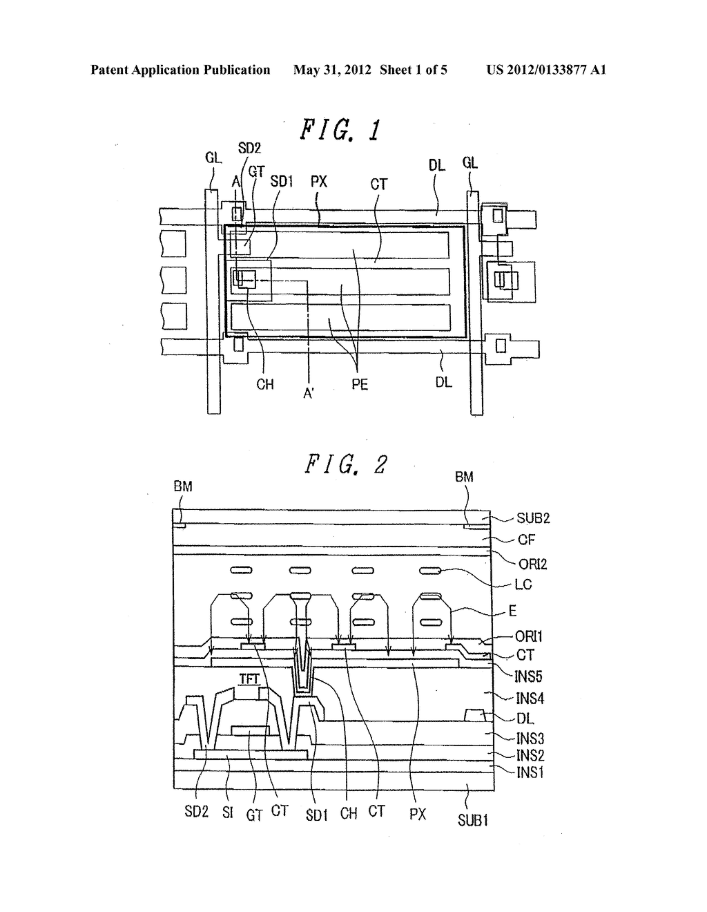 Liquid Crystal Display Device Having Rectangular-Shaped Pixel Electrodes     Overlapping with Comb-Shaped Counter Electrodes in Plan View - diagram, schematic, and image 02